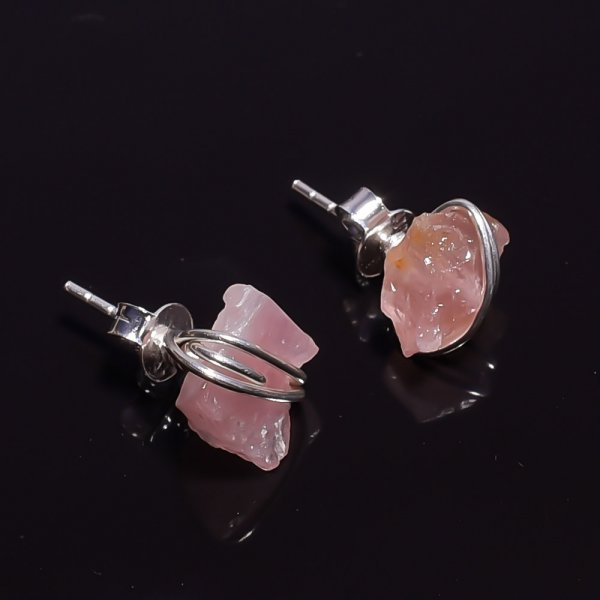 Raw Rose Quartz Gemstone 925 Sterling Silver Stud Earrings