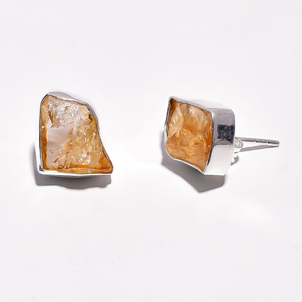 Raw Citrine Gemstone 925 Sterling Silver Stud Earrings