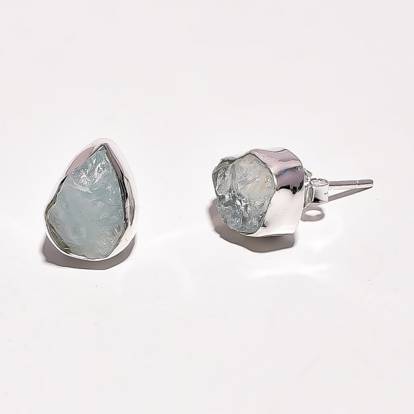 Raw Aquamarine Gemstone 925 Sterling Silver Stud Earrings