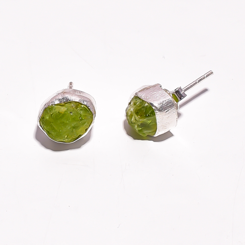 Raw Peridot Gemstone 925 Sterling Silver Stud Earrings