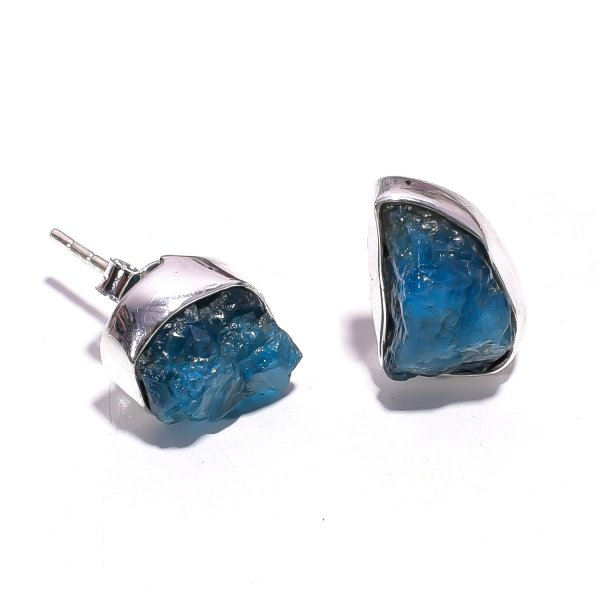 Raw Neon Apatite Gemstone 925 Sterling Silver Stud Earrings