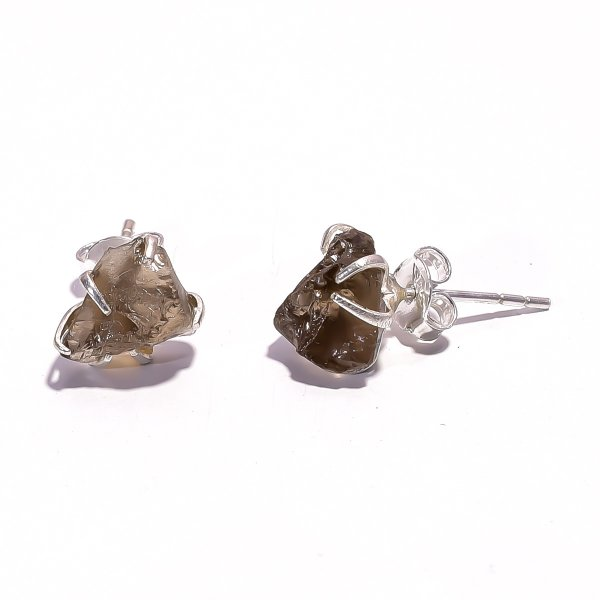 Smoky Raw Gemstone 925 Sterling Silver Prong Stud Earrings