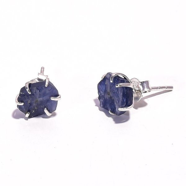 Sapphire Raw Gemstone 925 Sterling Silver Prong Stud Earrings