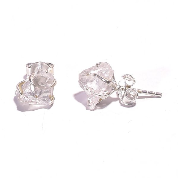 Crystal Raw Gemstone 925 Sterling Silver Prong Stud Earrings