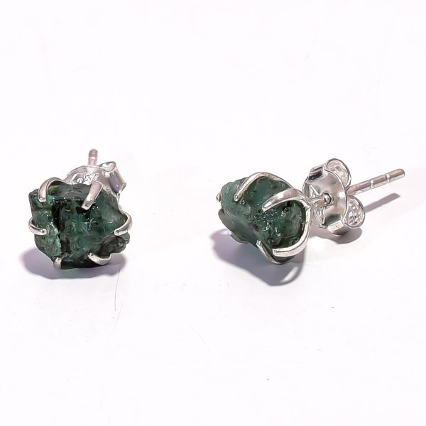 Emerald Raw Gemstone 925 Sterling Silver Prong Stud Earrings