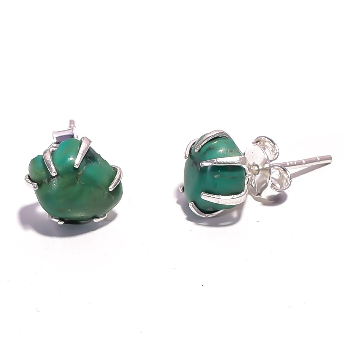 Turquoise Raw Gemstone 925 Sterling Silver Prong Stud Earrings