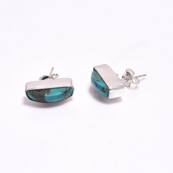 Raw Turquoise Gemstone 925 Sterling Silver Stud Earrings