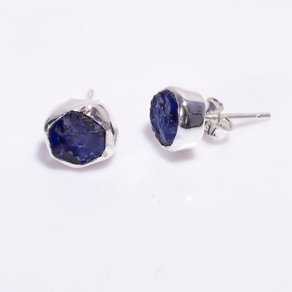 Sapphire Raw Gemstone 925 Sterling Silver Stud Earrings