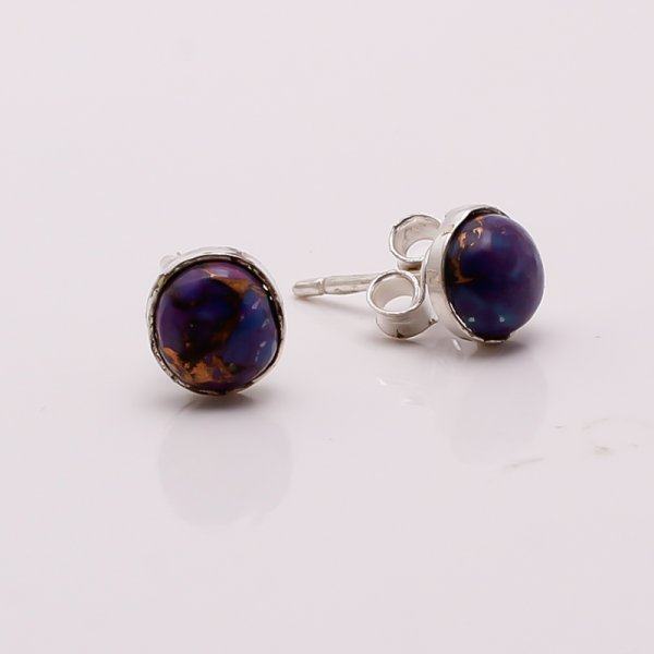 Purple Copper Turquoise Gemstone 925 Sterling Silver Stud Earrings