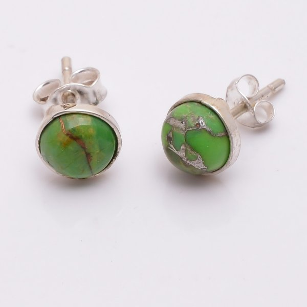 Green Copper Turquoise Gemstone 925 Sterling Silver Stud Earrings