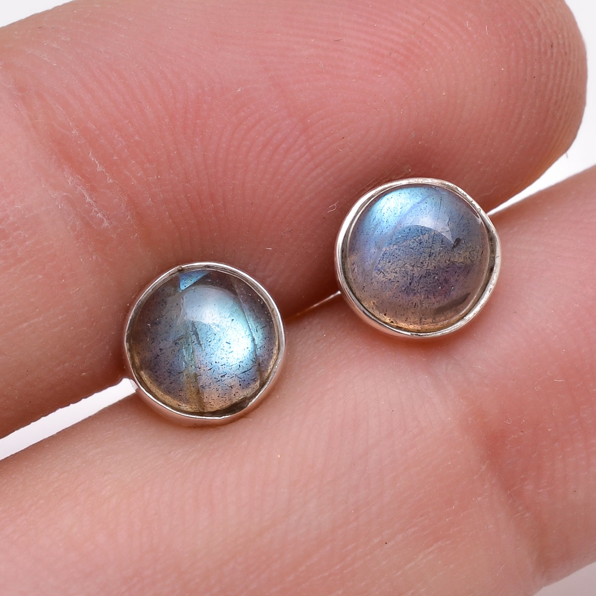 Labradorite Gemstone 925 Sterling Silver Stud Earrings