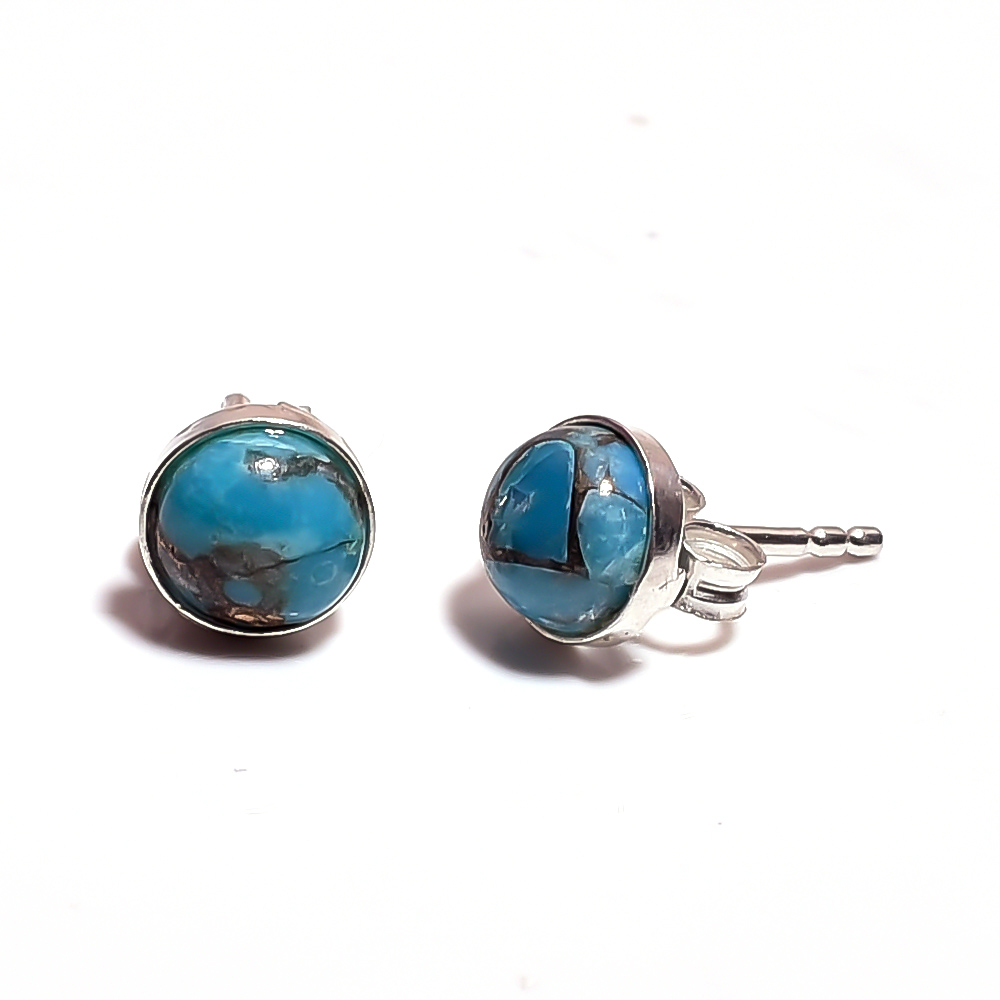 Blue Copper Turquoise Gemstone 925 Sterling Silver Stud Earrings