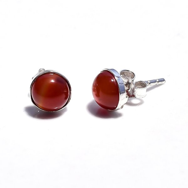 Red Jade Gemstone 925 Sterling Silver Stud Earrings