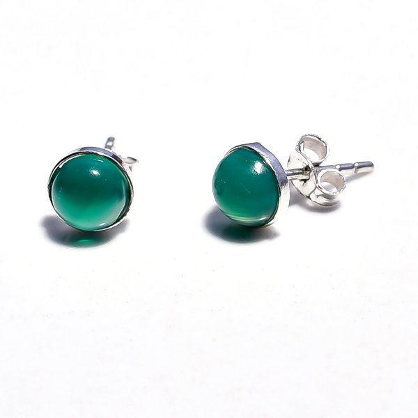 Green Jade Gemstone 925 Sterling Silver Stud Earrings