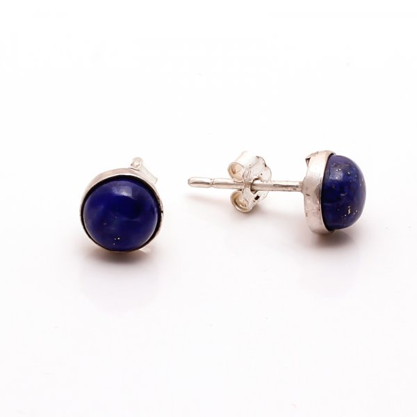 Lapis Gemstone 925 Sterling Silver Stud Earrings