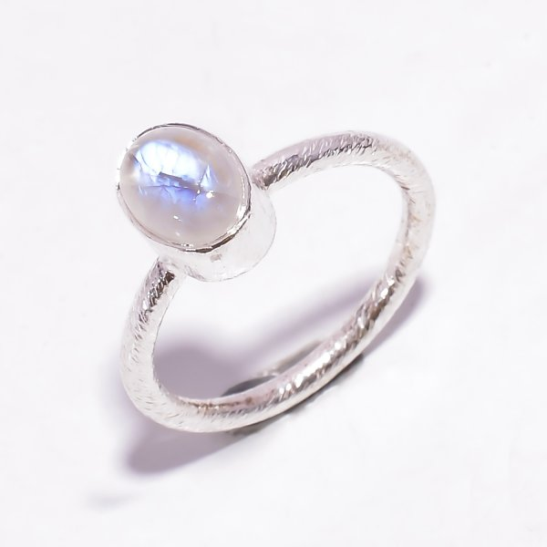 Natural Rainbow Moonstone 925 Sterling Silver Stackable Ring