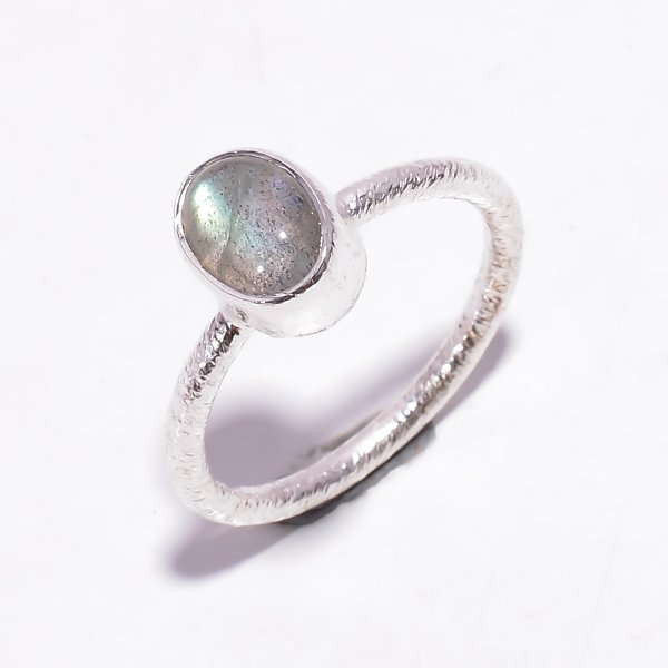 Labradorite Gemstone 925 Sterling Silver Stackable Ring