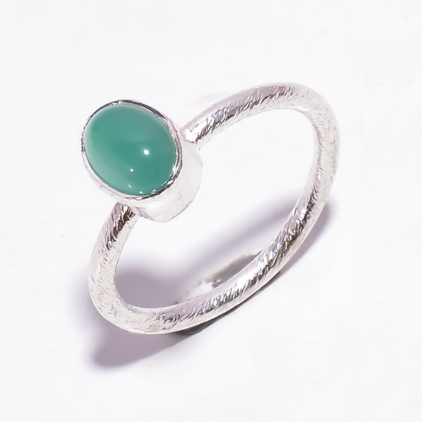 Green Onyx Gemstone 925 Sterling Silver Stackable Ring