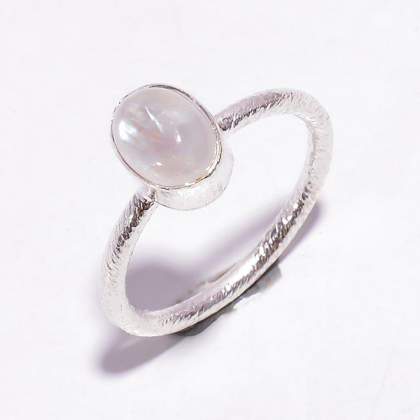 Natural Rainbow Moonstone 925 Sterling Silver Stackable Ring Size US 8.25