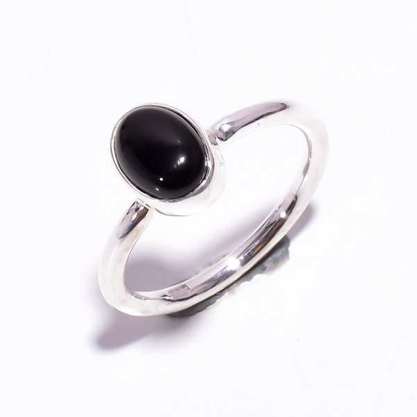 Black Onyx Gemstone 925 Sterling Silver Stackable Ring