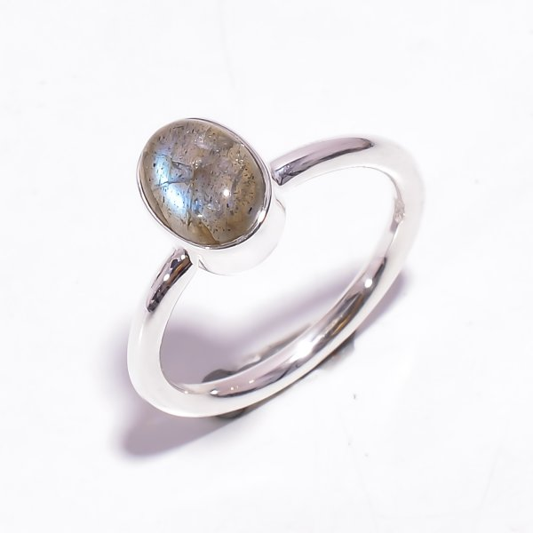Labradorite Gemstone 925 Sterling Silver Stackable Ring Size US 6.25