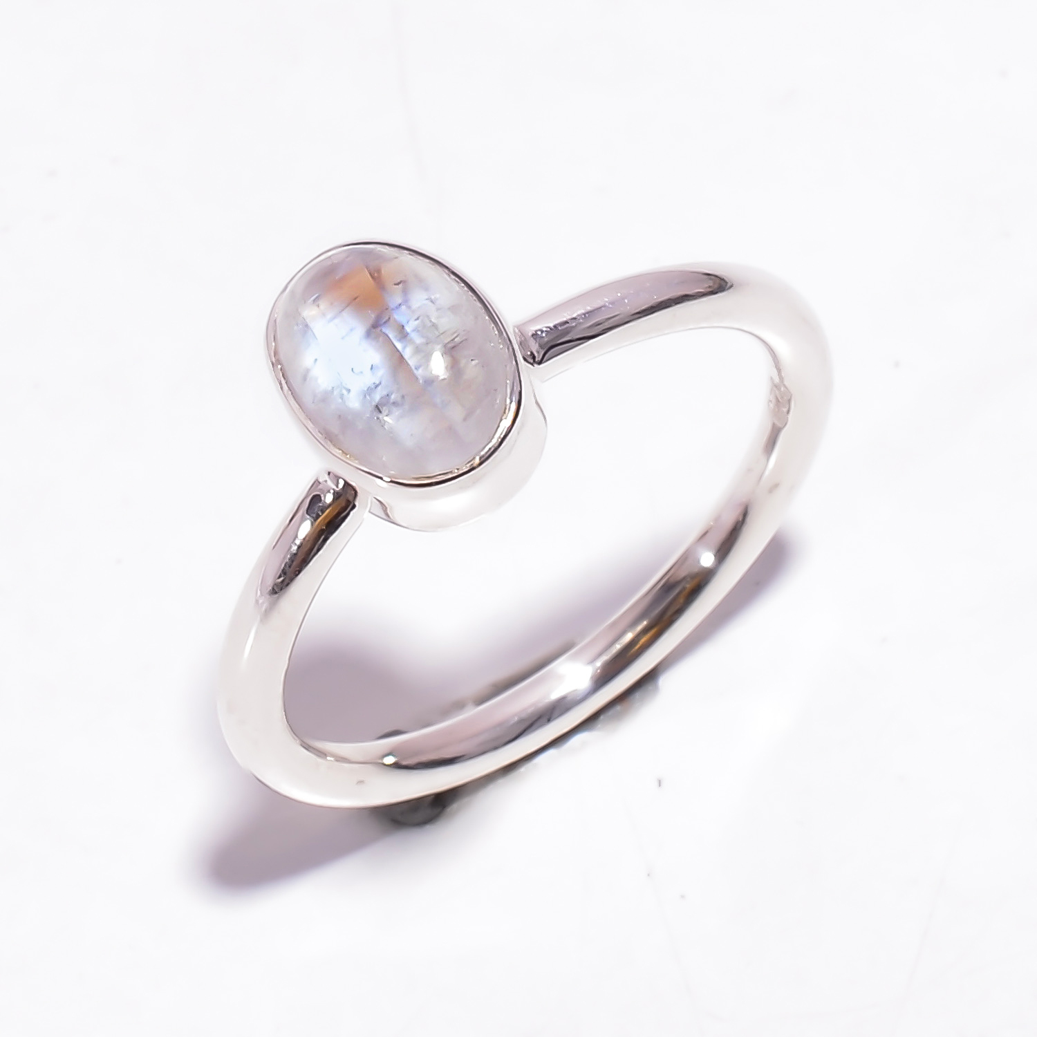 Natural Rainbow 925 Sterling Silver Stackable Ring