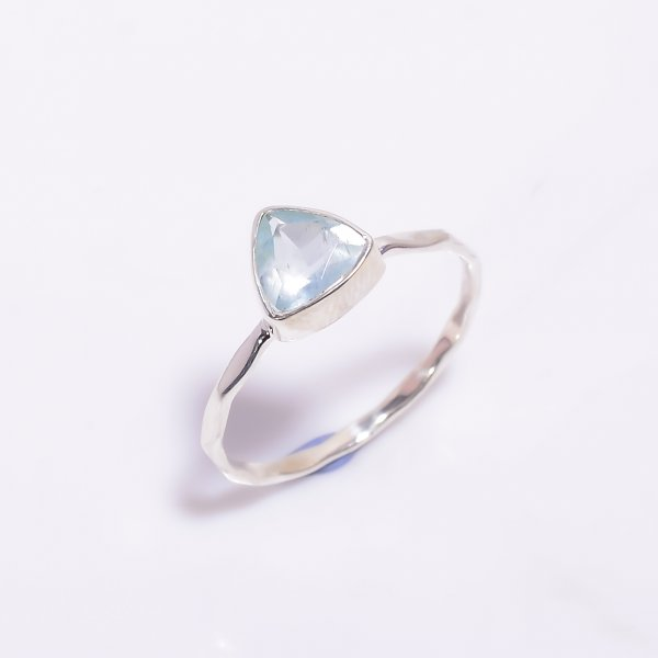 Aquamarine Gemstone 925 Sterling Silver Hammered Stackable Ring Size US 6.5