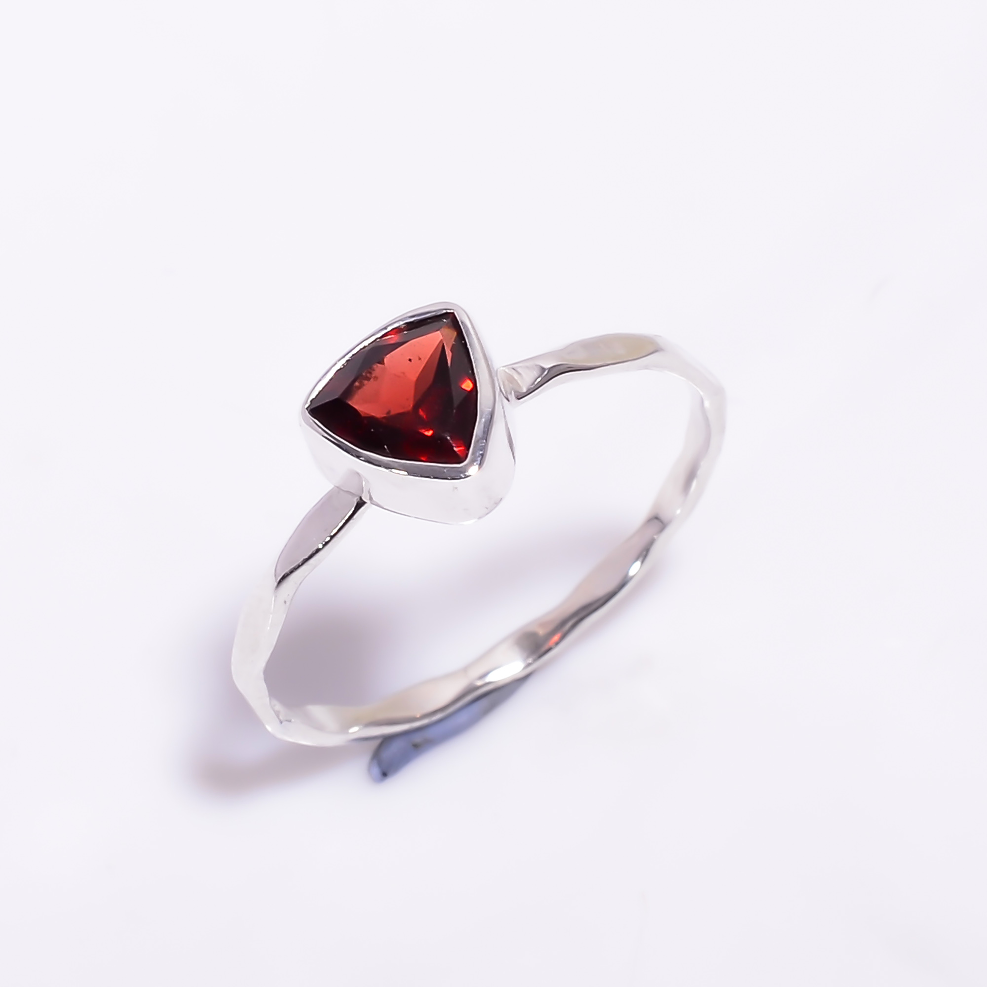 Garnet Gemstone 925 Sterling Silver Hammered Stackable Ring