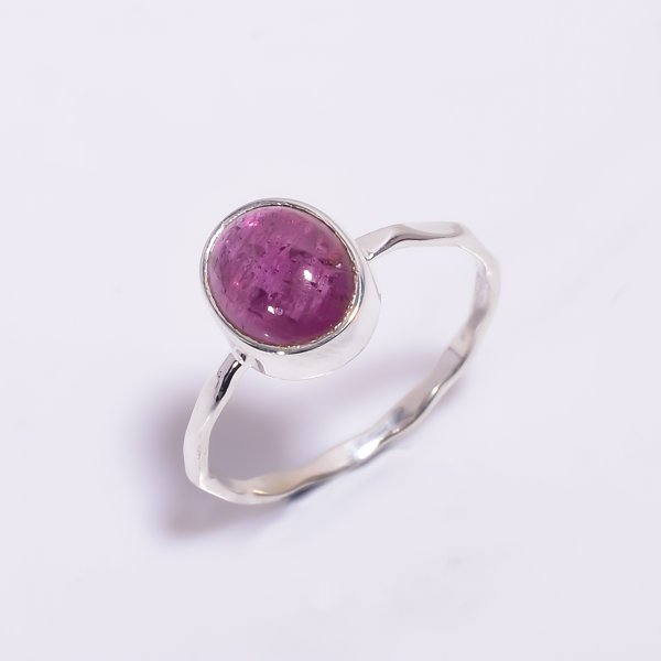 Pink Tourmaline Gemstone 925 Sterling Silver Hammered Stackable Ring Size US 6.5