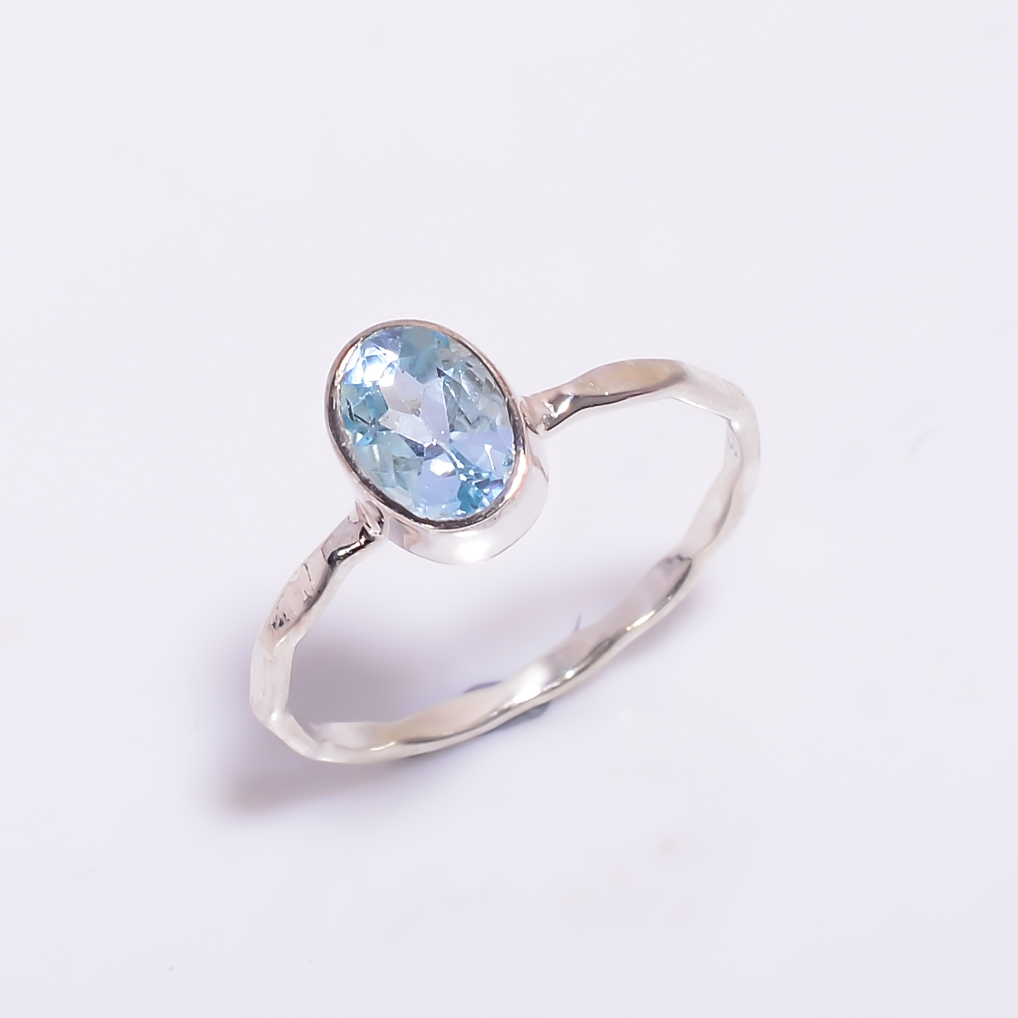 Aquamarine Gemstone 925 Sterling Silver Hammered Stackable Ring
