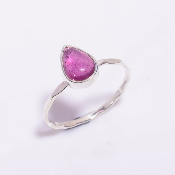 Pink Tourmaline Gemstone 925 Sterling Silver Hammered Stackable Ring Size US 8.5