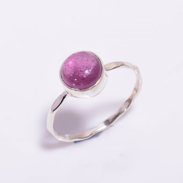 Pink Tourmaline Gemstone 925 Sterling Silver Hammered Stackable Ring Size US 8.75