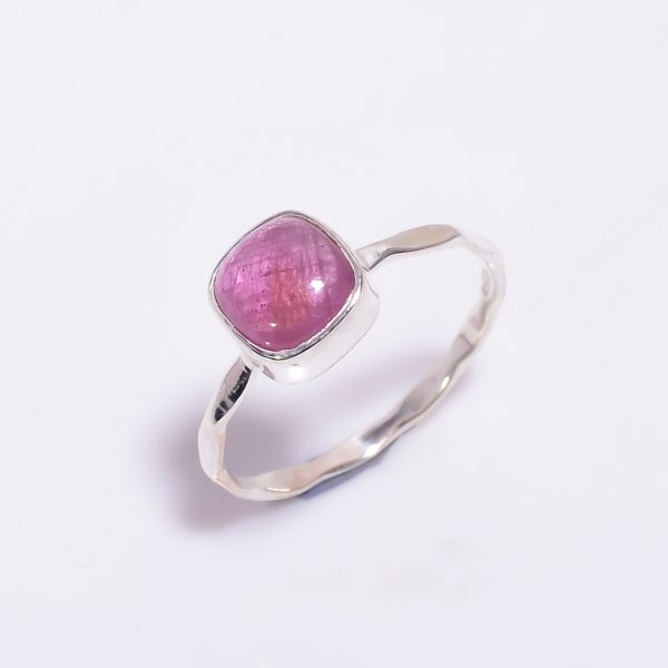 Pink Tourmaline Gemstone 925 Sterling Silver Hammered Stackable Ring