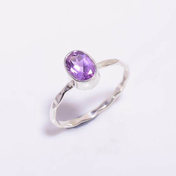 Amethyst  Gemstone 925 Sterling Silver Hammered Stackable Ring