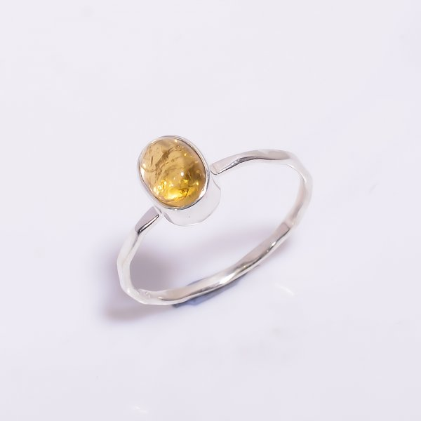 Citrine Gemstone 925 Sterling Silver Hammered Stackable Ring Size US 7.5