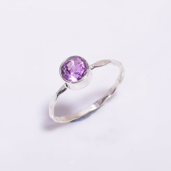 Amethyst Gemstone 925 Sterling Silver Hammered Stackable Ring Size US 8.5