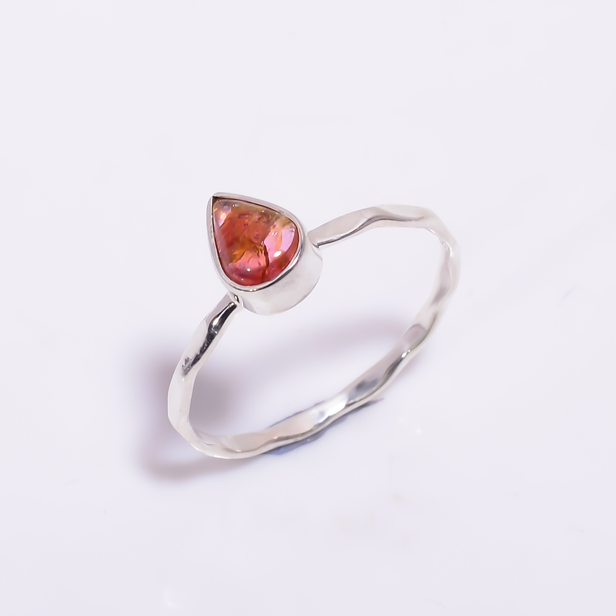 Pink Tourmaline Gemstone 925 Sterling Silver Hammered Stackable Ring Size US 7.5