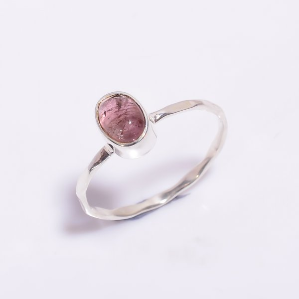 Pink Tourmaline Gemstone 925 Sterling Silver Hammered Stackable Ring Size US 8.25