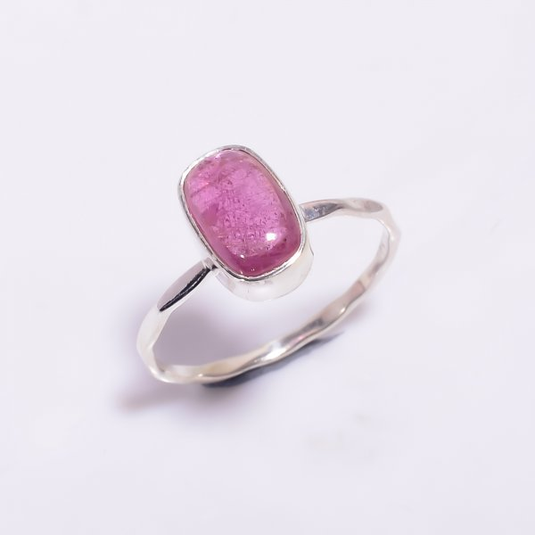 Pink Tourmaline Gemstone 925 Sterling Silver Hammered Stackable Ring Size US 6.75