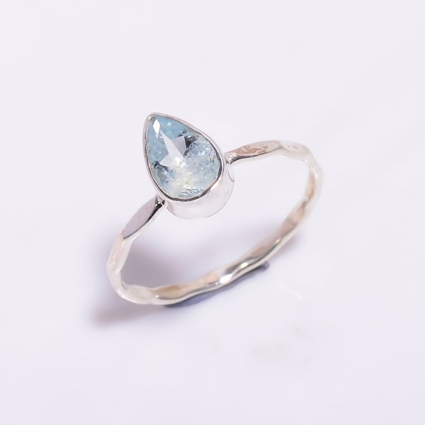 Aquamarine Gemstone 925 Sterling Silver Hammered Stackable Ring Size US 6.75