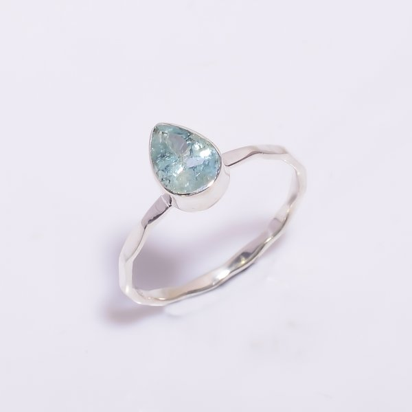 Aquamarine Gemstone 925 Sterling Silver Hammered Stackable Ring Size US 5.75