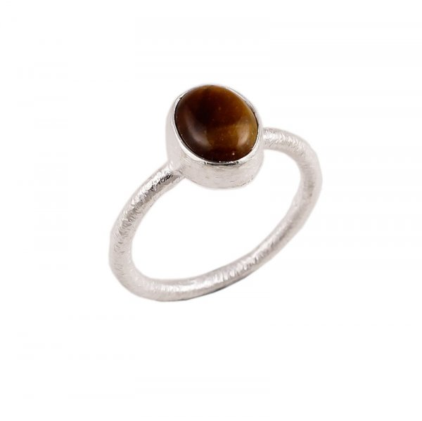 Tiger Eye Gemstone 925 Sterling Silver Stackable Ring Size 8