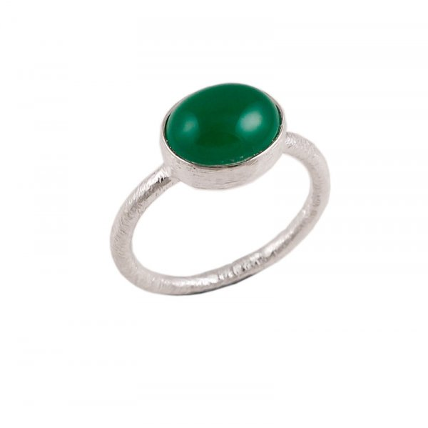 Green Onyx Gemstone 925 Sterling Silver Stackable Ring Size 7