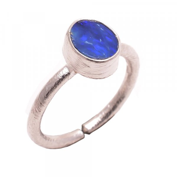 Australian Opal Gemstone 925 Sterling Silver Stackable Ring Size 6.5 Adjujstable