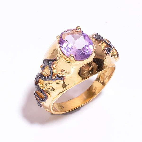 925 Sterling Silver Gold Plated & Black Rhodium Two Tone Amethyst Ring Size 6.75