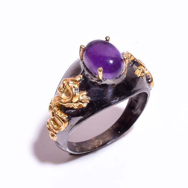 925 Sterling Silver Gold Plated & Black Rhodium Two Tone Amethyst Ring Size 8