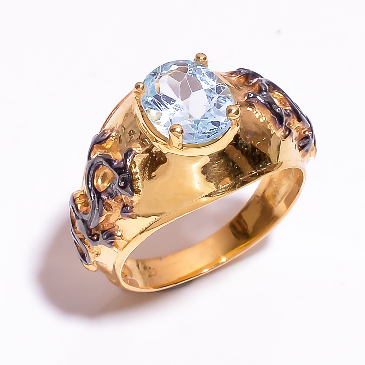 925 Sterling Silver Gold Plated & Black Rhodium Two Tone Blue Topaz Ring Size 7