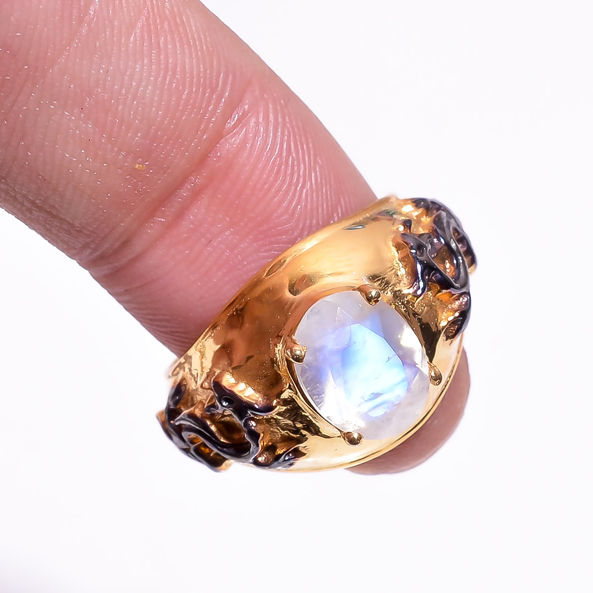 925 Sterling Silver Gold Plated & Black Rhodium Two Tone Rainbow Moonstone Ring Size 6.5