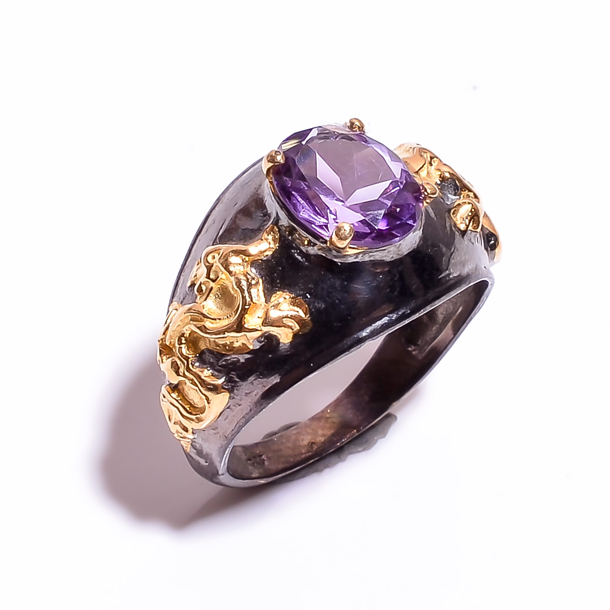 925 Sterling Silver Gold Plated & Black Rhodium Two Tone Amethyst  Ring