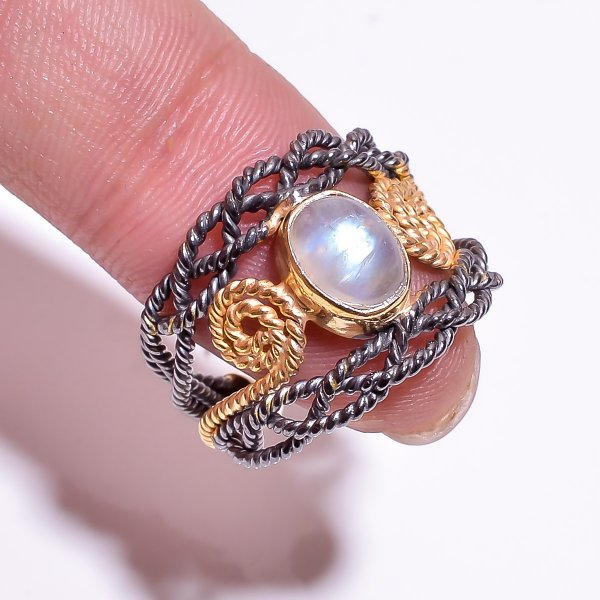 925 Sterling Silver Gold Plated & Black Rhodium Two Tone Rainbow Moonstone Adjustable Ring